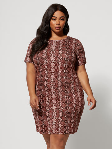 Olinda Snake Print T-Shirt Dress in Wine