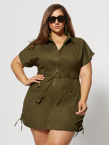 Marigold Zip Utility Dress in Olive