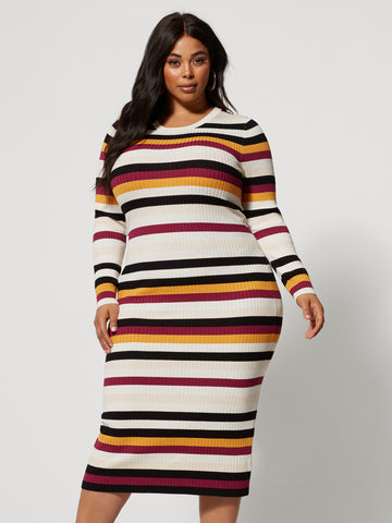 Kimberly Striped Sweater Midi Dress in Mustard Yellow