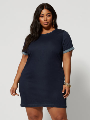 Madison Denim Shift Dress in Dark Wash