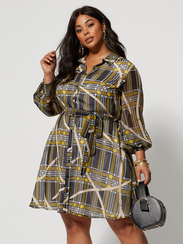 Celia Printed Shirt Dress in Black