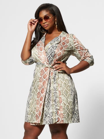 Liya Snake Print Wrap Shirt Dress in Ivory