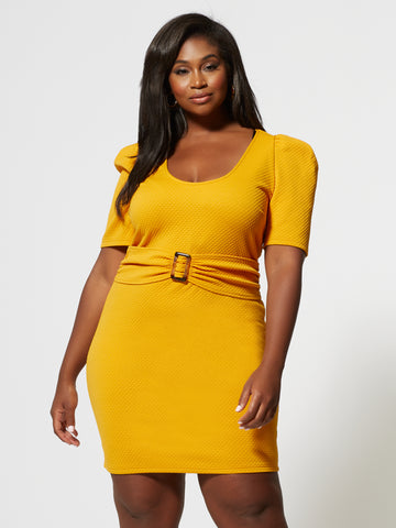 Beatrix Belted Puff Sleeve Dress in Mustard Yellow