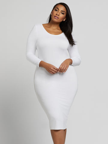 Signature - Everyday Midi Dress in Paper White
