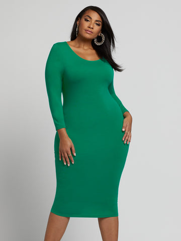 Signature - Everyday Midi Dress in Green