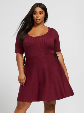 Bella Lace-Up Side Sweater Flare Dress in Dark Red