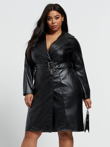Danisa Faux-Leather Blazer Dress in Black
