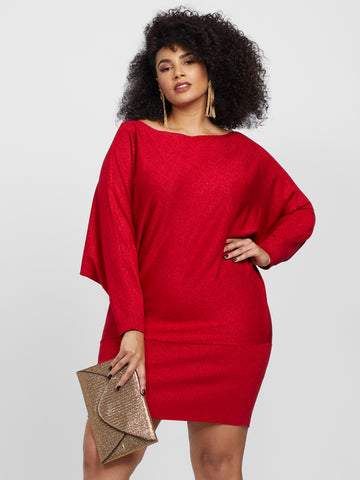Larina Dolman Sleeve Sweater Dress in Coco Red