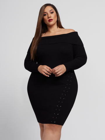 Madeleine Lace-Up Sweater Dress in Black
