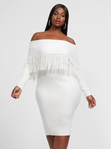 Cleo Off Shoulder Fringe Sweater Dress in Ivory