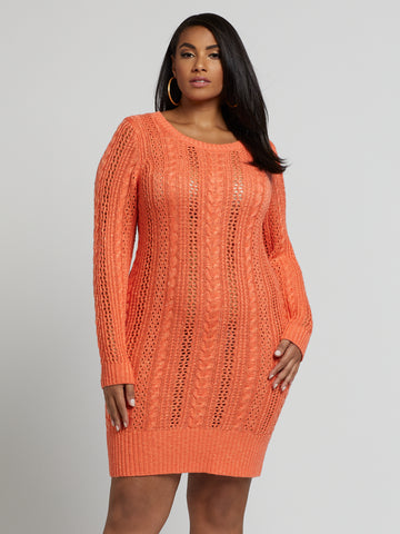 Darlene Open Cable Sweater Dress in Coral