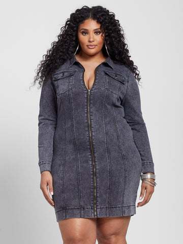Deena Zip Front Denim Dress in Always Black Wash