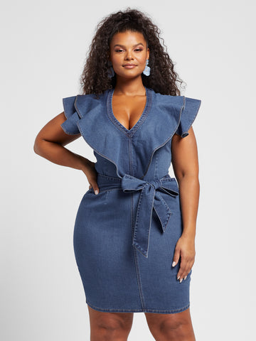 Hannah Ruffle Sleeve Denim Dress in Indigo Blue Wash