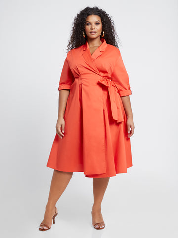 Everleigh Poplin Wrap Dress in Burnt Orange