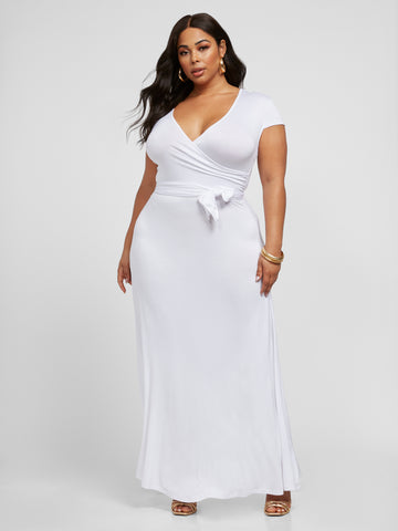 Grace White Faux Wrap Maxi Dress in White