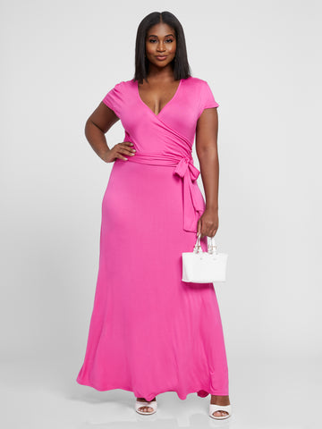 Grace Faux Wrap Maxi Dress in Pink