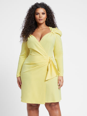 Ruth Long Sleeve Casade Side Dress in Light Yellow