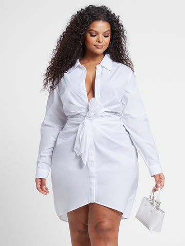 Anais Long Sleeve Knot Front Dress in White