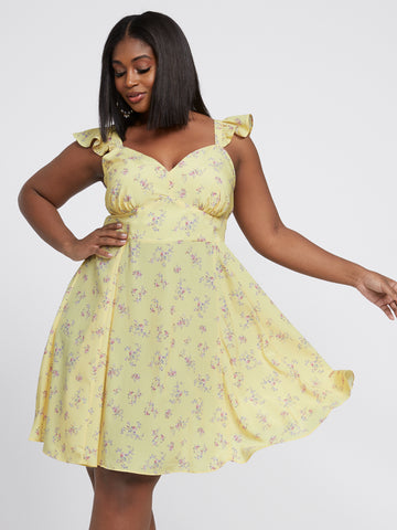 Fabiana Sleeveless Floral Flare Dress in Yellow