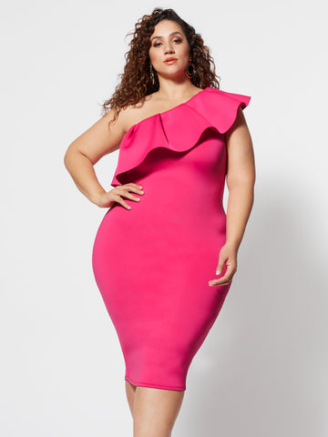 Noelli Ruffle Bodycon Midi Dress in Pink