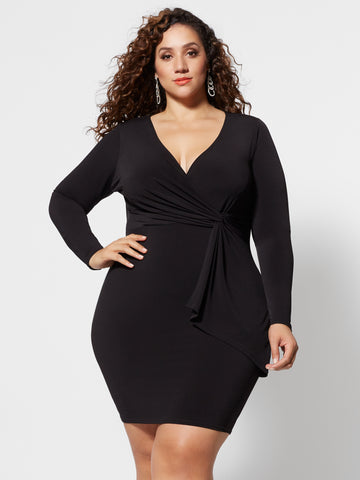 Amya Drape Bodycon Dress in Black