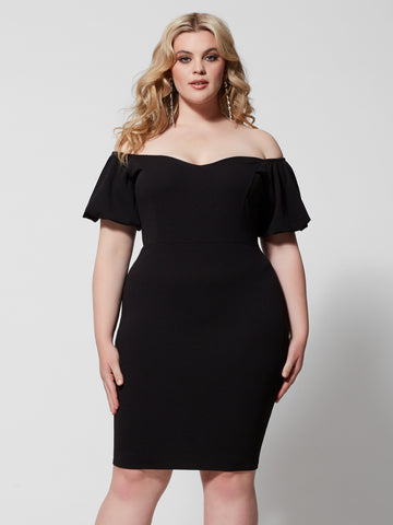 Audree Puff Sleeve Bodycon Dress in Black