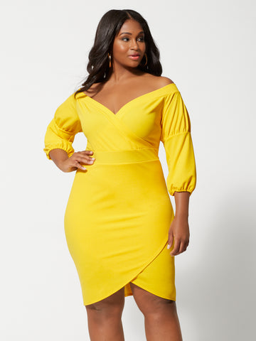 Emily Tulip Hem Bodycon Dress in Medium Yellow