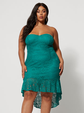 Rina Strapless Lace Dress in Jade