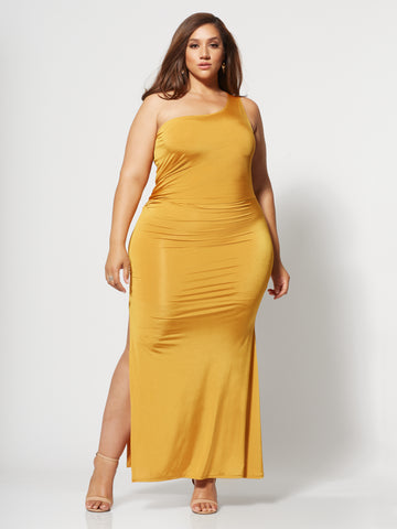 Inari Golden One Shoulder Maxi Dress in Mustard Yellow
