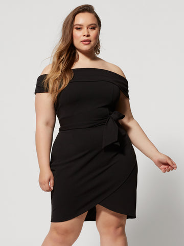 Nydia Off Shoulder Tie-Detail Dress in Black