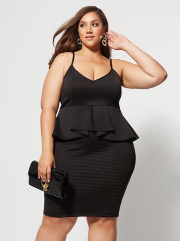 Padmini Peplum Bodycon Dress in Black