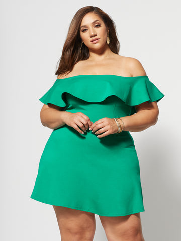 Nicoletta Off Shoulder Ruffle Dress in Green