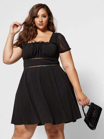 Elie Square Neck Flare Dress in Black