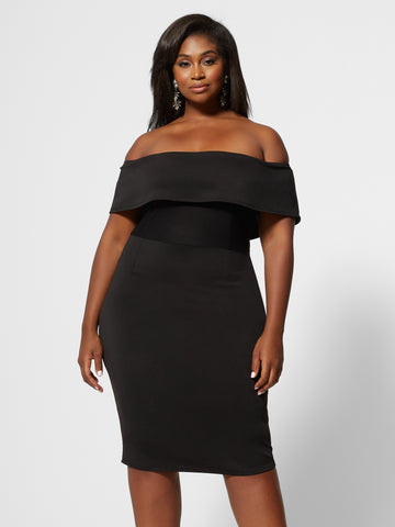 Emilia Off Shoulder Bodycon Dress in Black