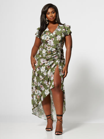 Amarissa Floral Ruched Maxi Dress in Olive