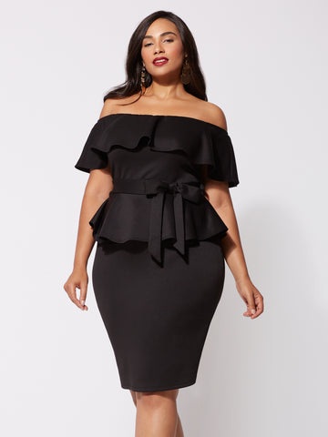 Diana Off-Shoulder Dress in Black