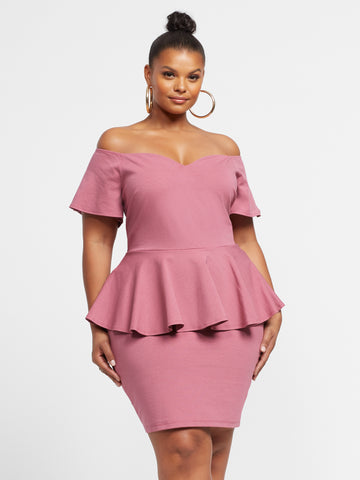 Adelaide Peplum Bodycon Dress in Pink