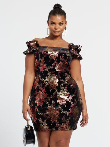 Betsey Off Shoulder Velvet Foil Dress in Black