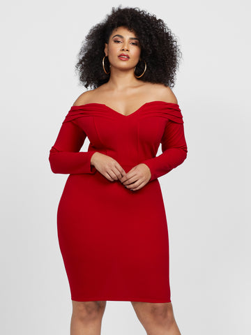 Gianina Off Shoulder Bodycon Dress in Red