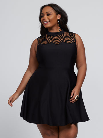 Tamia Sparkle Flare Dress in Black