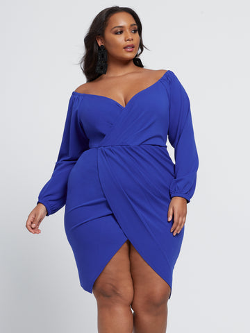 Alba Off Shoulder Tulip Hem Dress in Blue