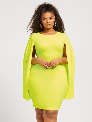 Isa Cape Bodycon Dress in Twisted Lime
