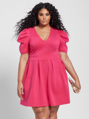 Amaya V-neck Flare Dress in Pink