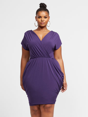 Shiloh Draped Bodycon Dress in Dark Purple