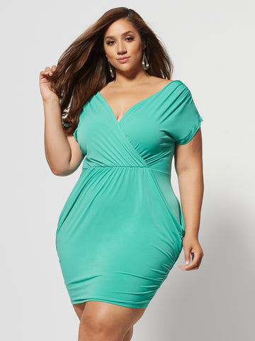 Shiloh Draped Bodycon Dress in Bright Aqua