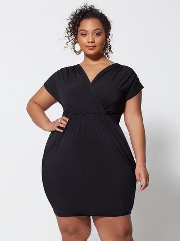 Shiloh Draped Bodycon Dress in Black