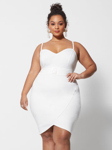 Anais Rhinestone Belted Bodycon Dress in White