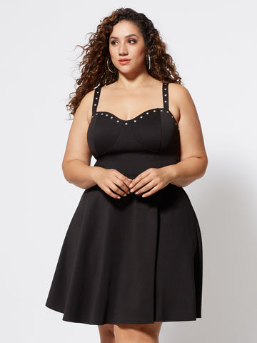 Fernanda Studded Flare Dress in Black