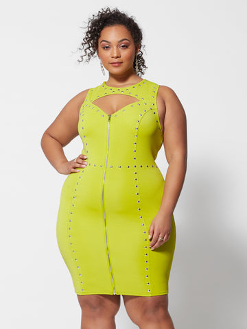 Genevieve Stud Detail Bodycon Dress in Twisted Lime