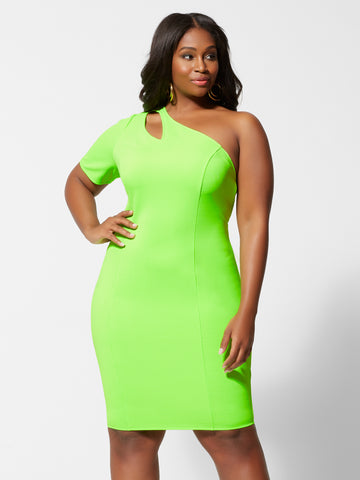 Ember Neon Green Bodycon Dress in Twisted Lime